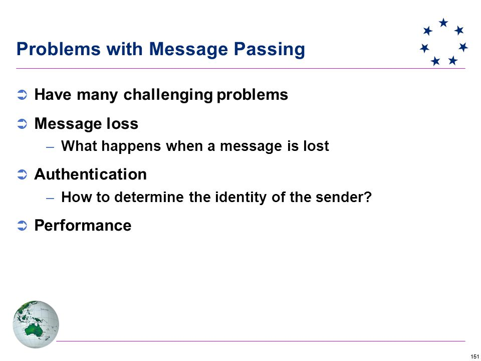 151 Problems with Message Passing  Have many challenging problems  Message loss –What happens when a message is lost  Authentication –How to determine the identity of the sender.