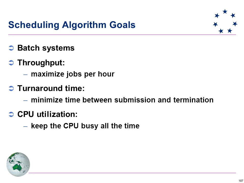 187 Scheduling Algorithm Goals  Batch systems  Throughput: –maximize jobs per hour  Turnaround time: –minimize time between submission and termination  CPU utilization: –keep the CPU busy all the time