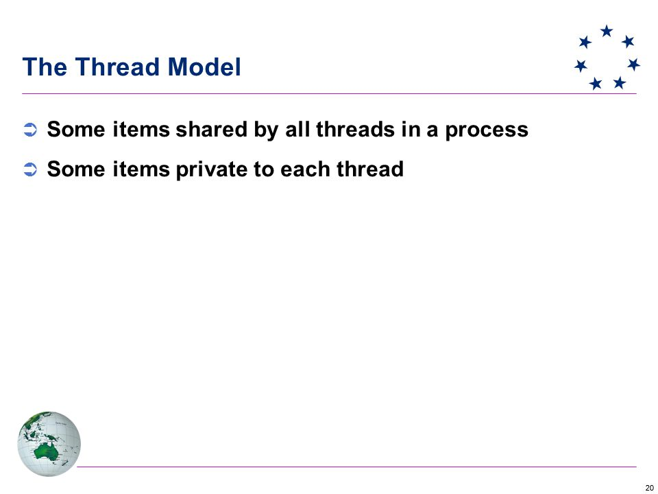 20 The Thread Model  Some items shared by all threads in a process  Some items private to each thread