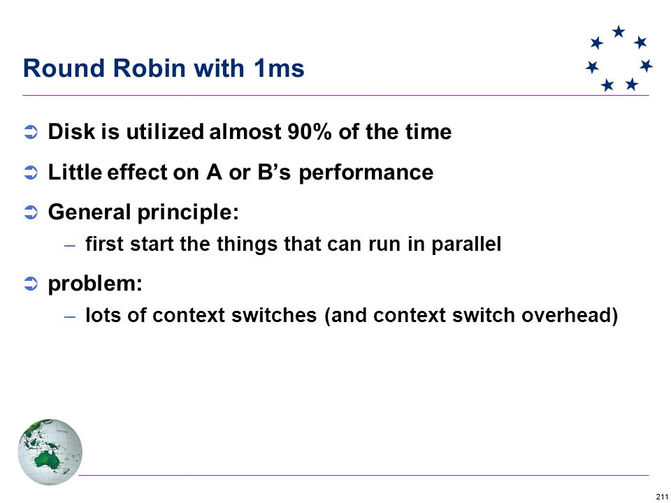211 Round Robin with 1ms  Disk is utilized almost 90% of the time  Little effect on A or B's performance  General principle: –first start the things that can run in parallel  problem: –lots of context switches (and context switch overhead)