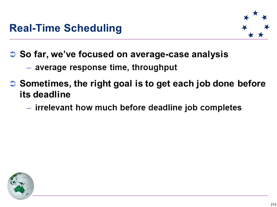 213 Real-Time Scheduling  So far, we've focused on average-case analysis –average response time, throughput  Sometimes, the right goal is to get each job done before its deadline –irrelevant how much before deadline job completes