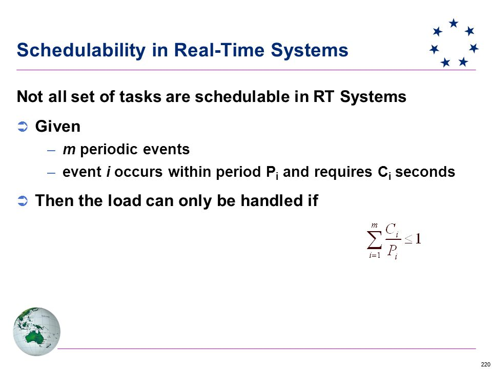 220 Not all set of tasks are schedulable in RT Systems  Given –m periodic events –event i occurs within period P i and requires C i seconds  Then the load can only be handled if Schedulability in Real-Time Systems