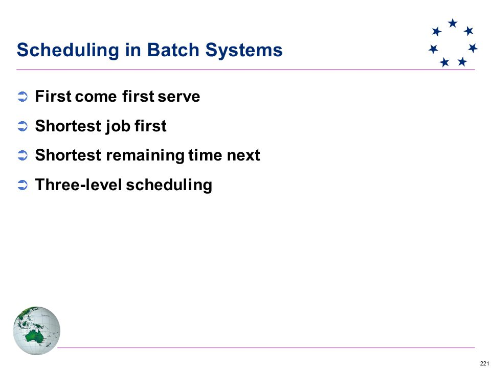 221 Scheduling in Batch Systems  First come first serve  Shortest job first  Shortest remaining time next  Three-level scheduling