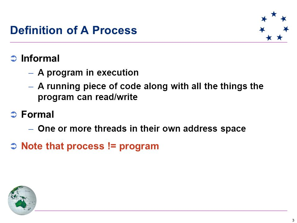 33 Definition of A Process  Informal –A program in execution –A running piece of code along with all the things the program can read/write  Formal –One or more threads in their own address space  Note that process != program