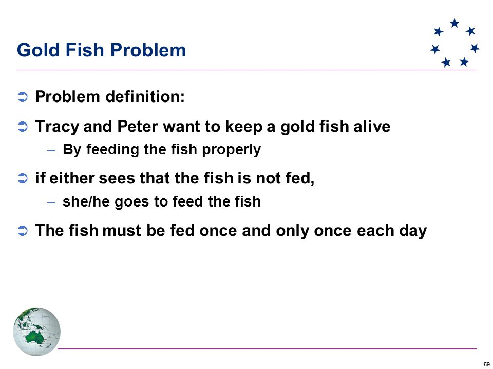 59 Gold Fish Problem  Problem definition:  Tracy and Peter want to keep a gold fish alive –By feeding the fish properly  if either sees that the fish is not fed, –she/he goes to feed the fish  The fish must be fed once and only once each day