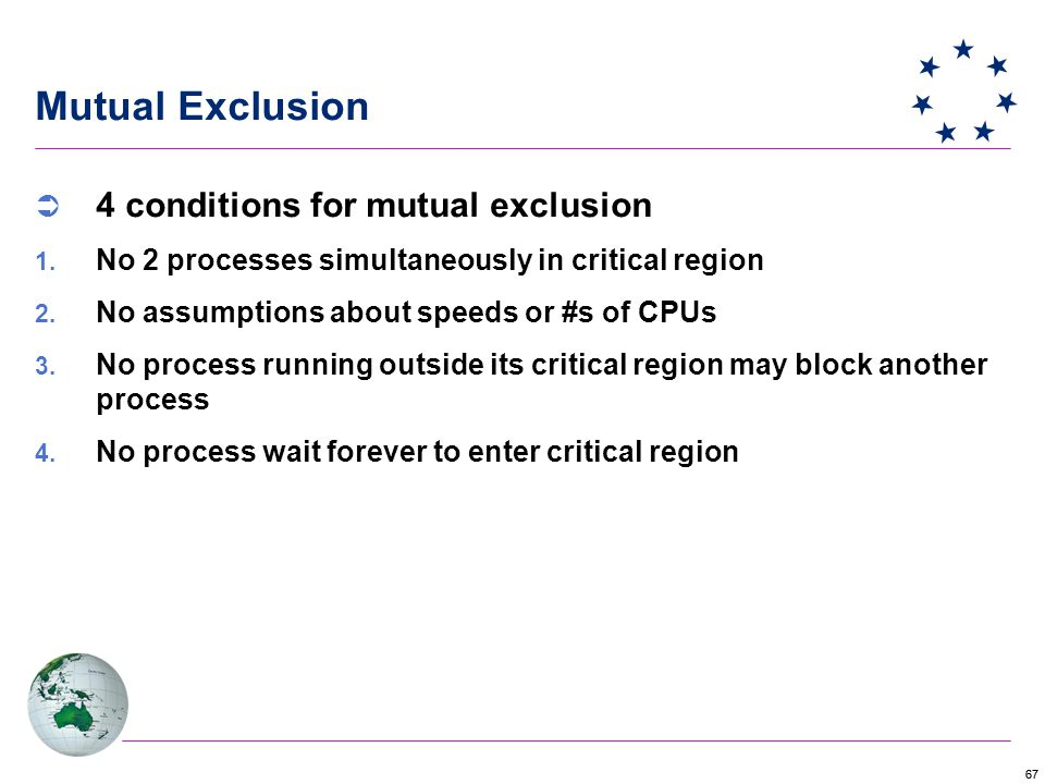 67 Mutual Exclusion  4 conditions for mutual exclusion  No 2 processes simultaneously in critical region  No assumptions about speeds or #s of CPUs  No process running outside its critical region may block another process  No process wait forever to enter critical region