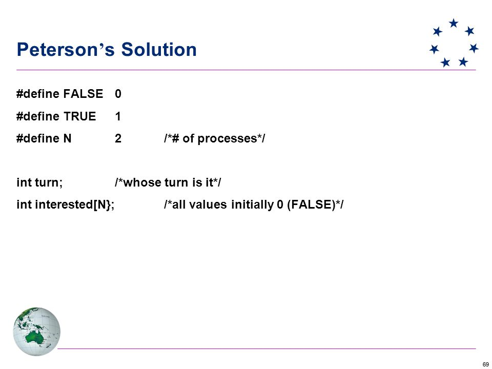 69 Peterson ' s Solution #define FALSE 0 #define TRUE 1 #define N2/*# of processes*/ int turn;/*whose turn is it*/ int interested[N};/*all values initially 0 (FALSE)*/
