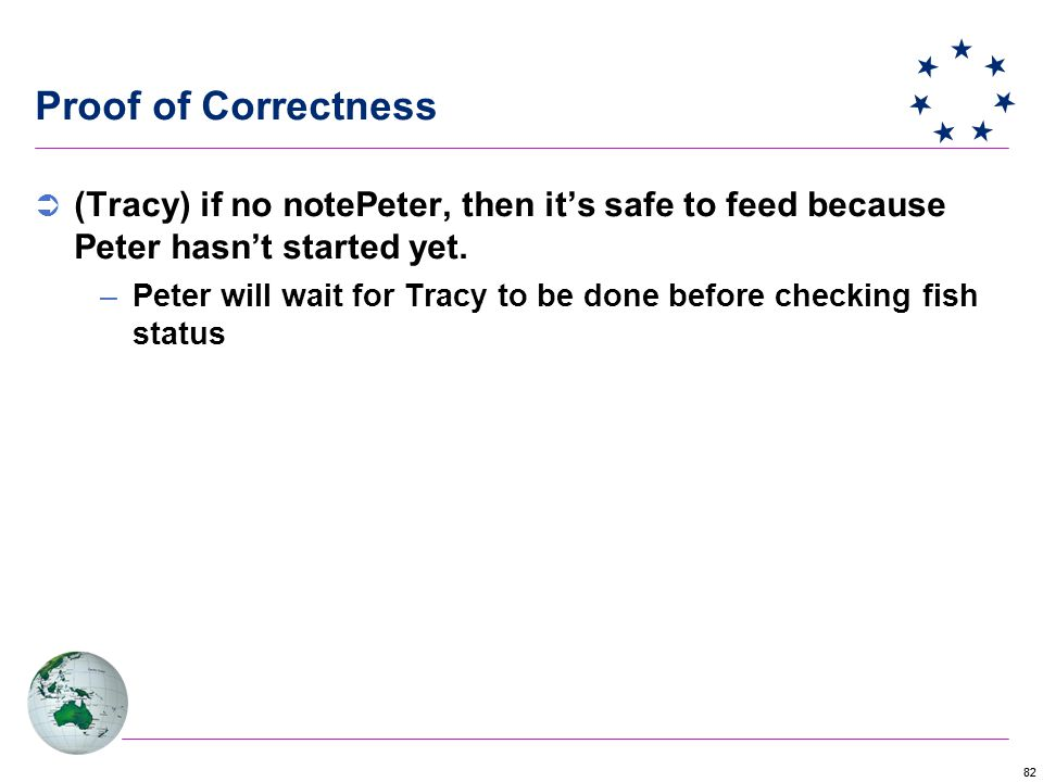 82 Proof of Correctness  (Tracy) if no notePeter, then it's safe to feed because Peter hasn't started yet.