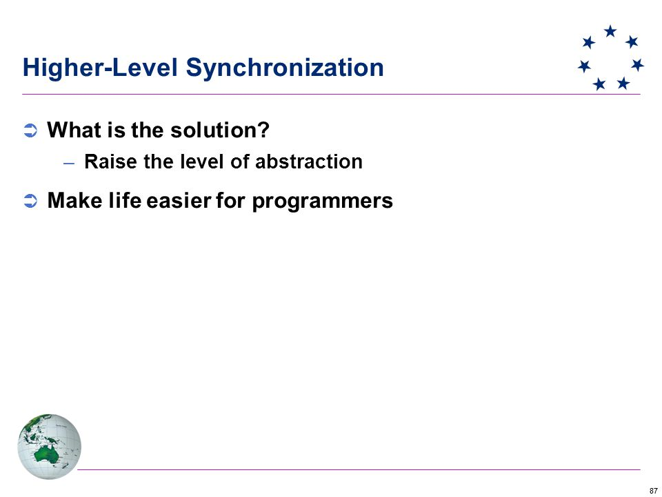 87 Higher-Level Synchronization  What is the solution.