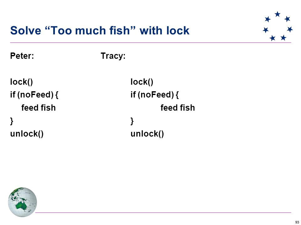 93 Solve Too much fish with lock Peter: Tracy: lock() if (noFeed) { feed fish } unlock()