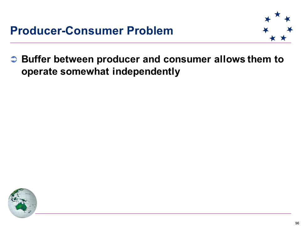 96 Producer-Consumer Problem  Buffer between producer and consumer allows them to operate somewhat independently