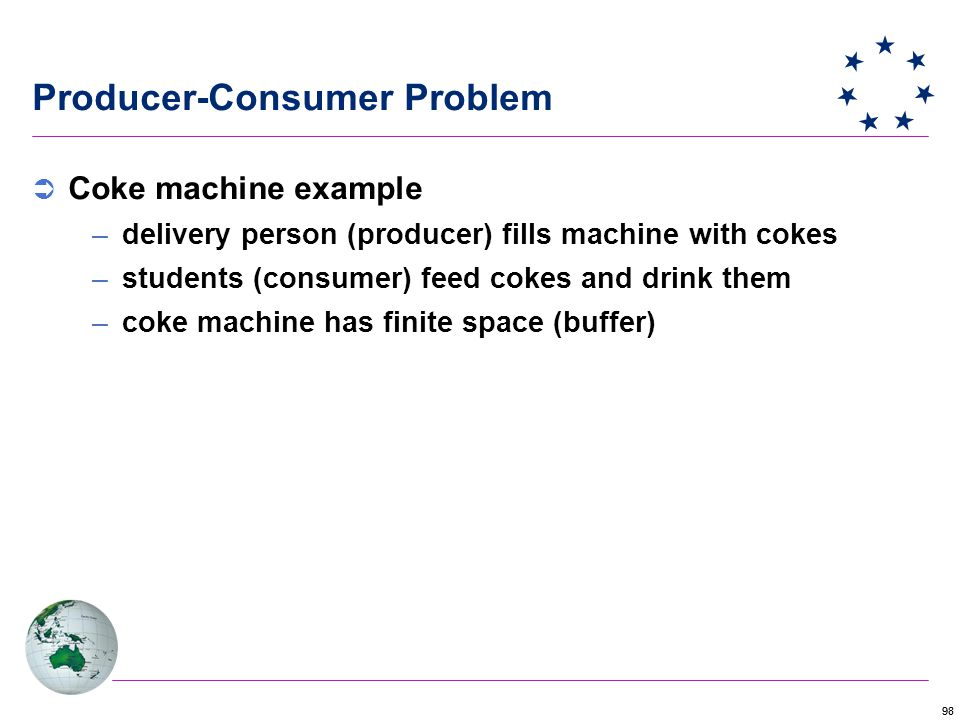 98 Producer-Consumer Problem  Coke machine example –delivery person (producer) fills machine with cokes –students (consumer) feed cokes and drink them –coke machine has finite space (buffer)