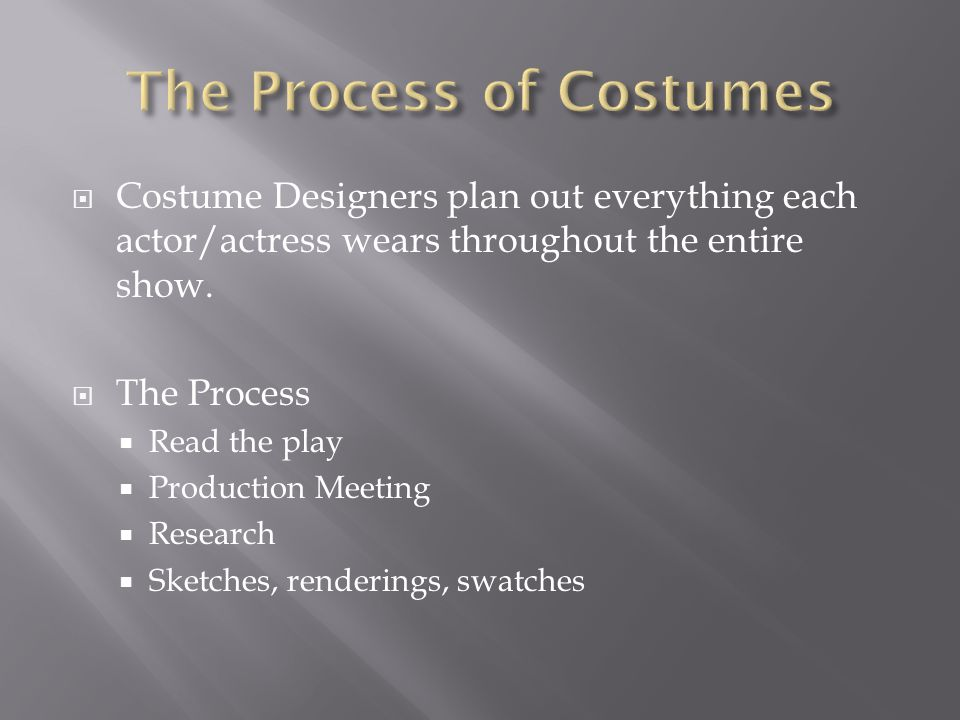  Costume Designers plan out everything each actor/actress wears throughout the entire show.