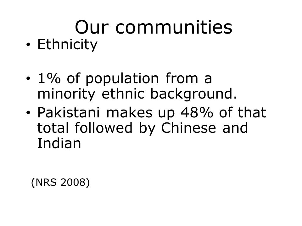 Our communities Ethnicity 1% of population from a minority ethnic background.