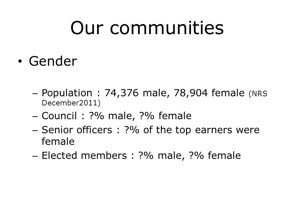 Our communities Gender – Population : 74,376 male, 78,904 female (NRS December2011) – Council : % male, % female – Senior officers : % of the top earners were female – Elected members : % male, % female