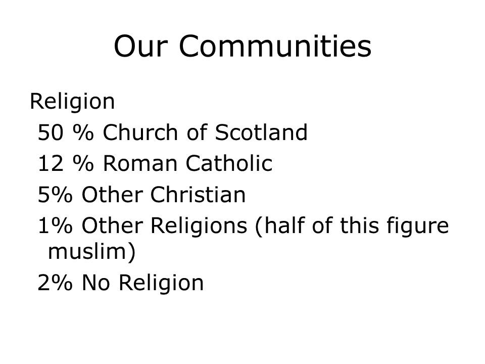 Our Communities Religion 50 % Church of Scotland 12 % Roman Catholic 5% Other Christian 1% Other Religions (half of this figure muslim) 2% No Religion