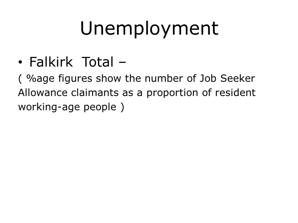 Unemployment Falkirk Total – ( %age figures show the number of Job Seeker Allowance claimants as a proportion of resident working-age people )