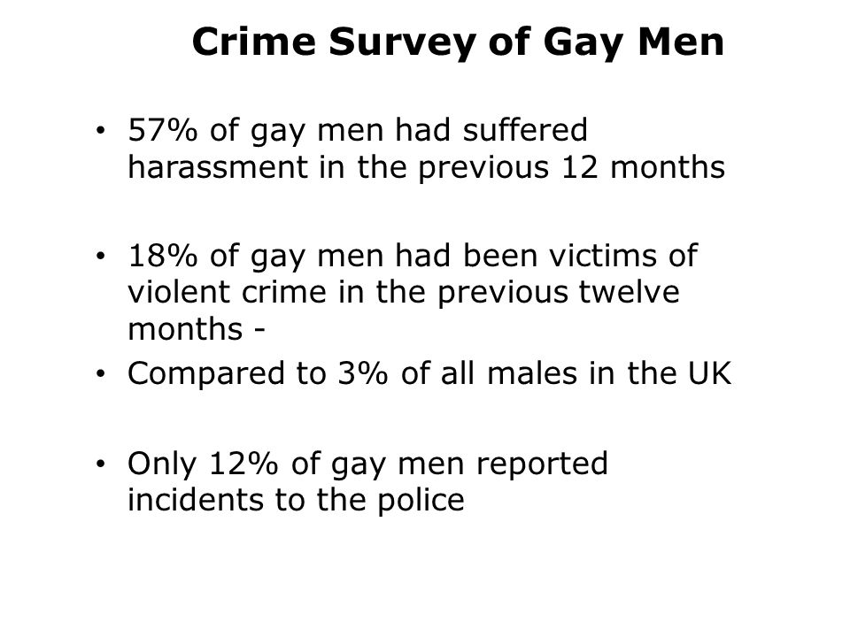Crime Survey of Gay Men 57% of gay men had suffered harassment in the previous 12 months 18% of gay men had been victims of violent crime in the previous twelve months - Compared to 3% of all males in the UK Only 12% of gay men reported incidents to the police
