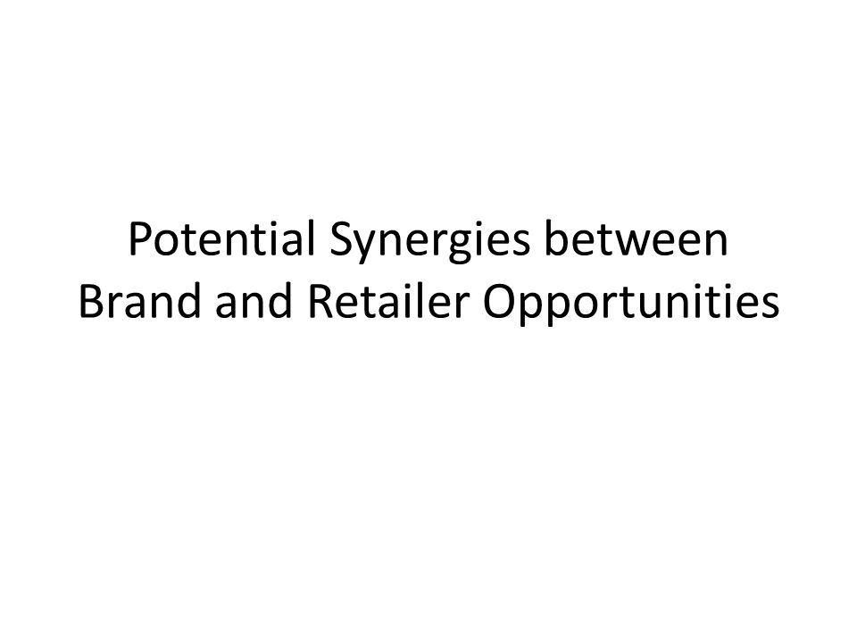 Potential Synergies between Brand and Retailer Opportunities