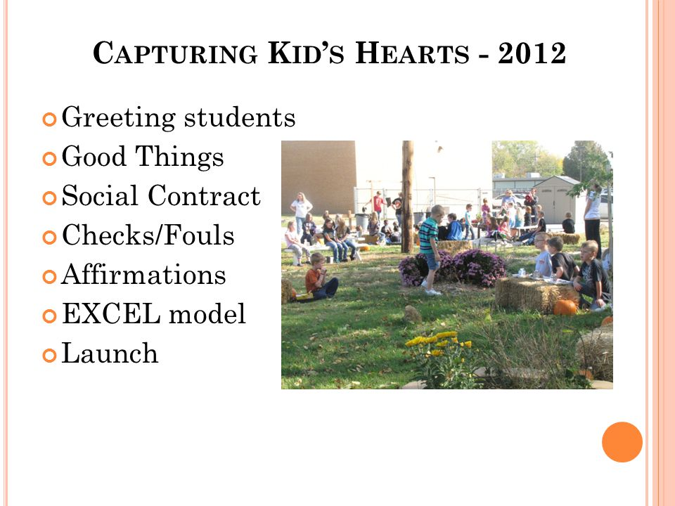 C APTURING K ID ' S H EARTS - 2012 Greeting students Good Things Social Contract Checks/Fouls Affirmations EXCEL model Launch