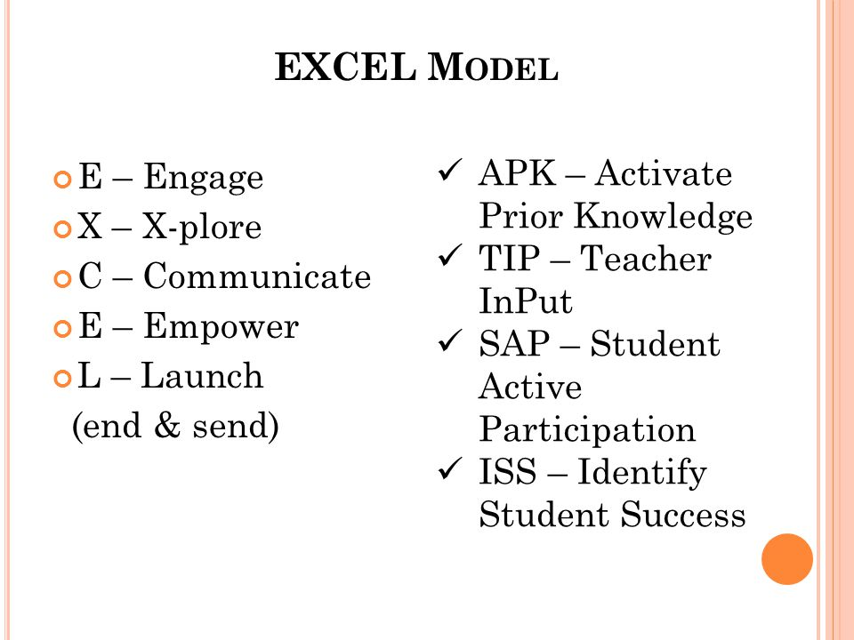 EXCEL M ODEL E – Engage X – X-plore C – Communicate E – Empower L – Launch (end & send) APK – Activate Prior Knowledge TIP – Teacher InPut SAP – Student Active Participation ISS – Identify Student Success