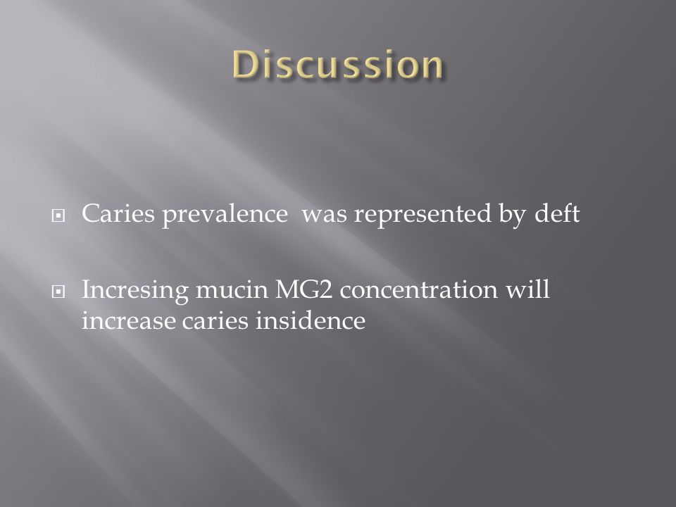  Caries prevalence was represented by deft  Incresing mucin MG2 concentration will increase caries insidence