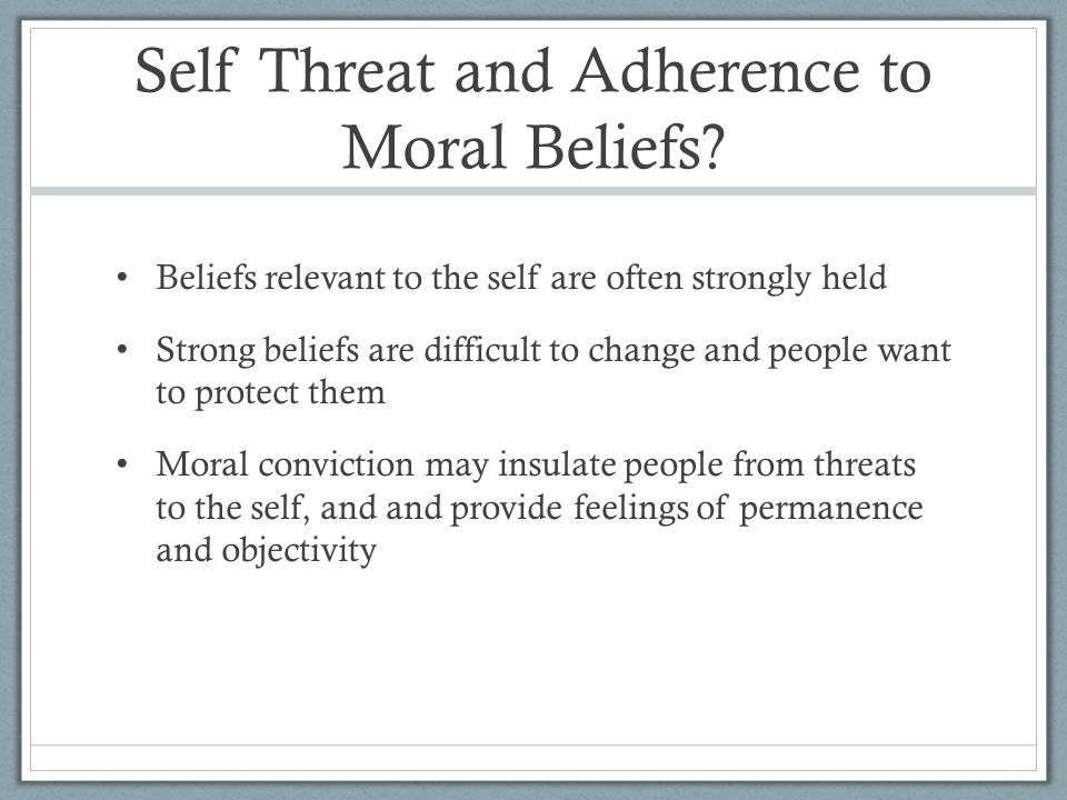 Self Threat and Adherence to Moral Beliefs.