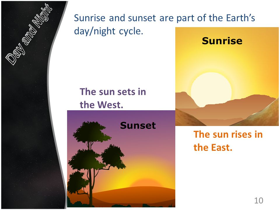 Sunrise and sunset are part of the Earth's day/night cycle.