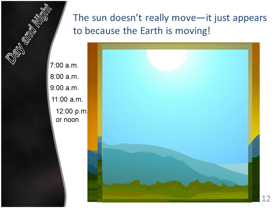 The sun doesn't really move—it just appears to because the Earth is moving.