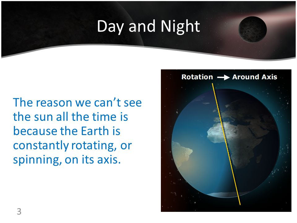 Day and Night The reason we can't see the sun all the time is because the Earth is constantly rotating, or spinning, on its axis.