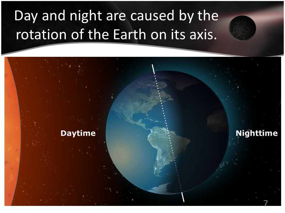 Day and night are caused by the rotation of the Earth on its axis. 7