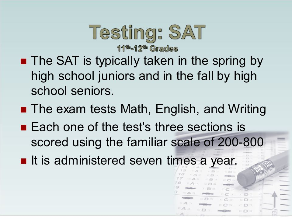 $30 testing fee The test is usually the second or third Saturday in October.