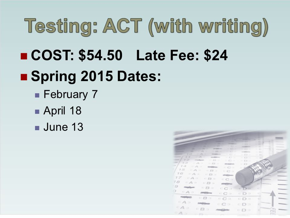 Juniors should sign up for one or more of the Spring ACT dates Plan to take the ACT again in the Fall semester of Senior year To sign up, go to http://www.actstudent.org/index.html http://www.actstudent.org/index.html