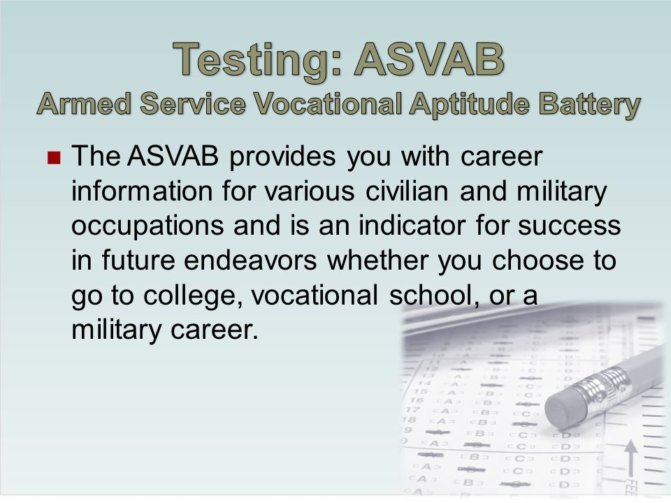 The Armed Services Vocational Aptitude Battery is the most widely used multiple- aptitude test battery in the world.