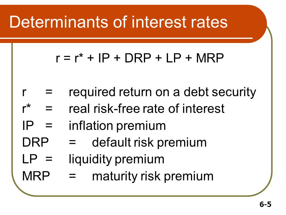 6-5 Determinants of interest rates r = r* + IP + DRP + LP + MRP r =required return on a debt security r*=real risk-free rate of interest IP=inflation premium DRP=default risk premium LP=liquidity premium MRP=maturity risk premium