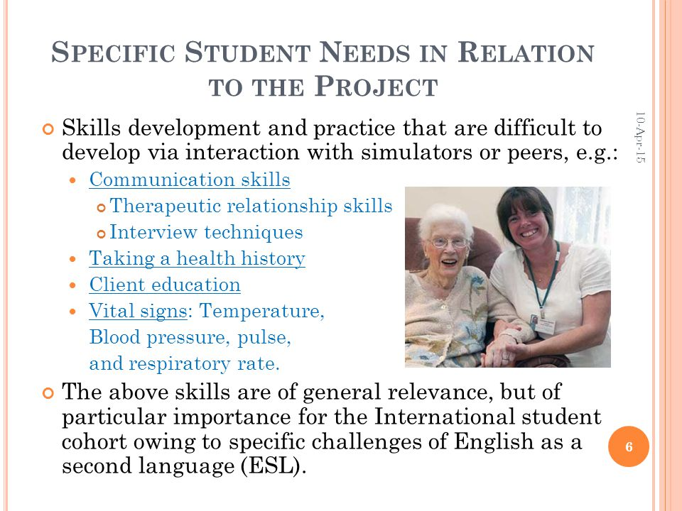 S PECIFIC S TUDENT N EEDS IN R ELATION TO THE P ROJECT Skills development and practice that are difficult to develop via interaction with simulators or peers, e.g.: Communication skills Therapeutic relationship skills Interview techniques Taking a health history Client education Vital signs: Temperature, Blood pressure, pulse, and respiratory rate.