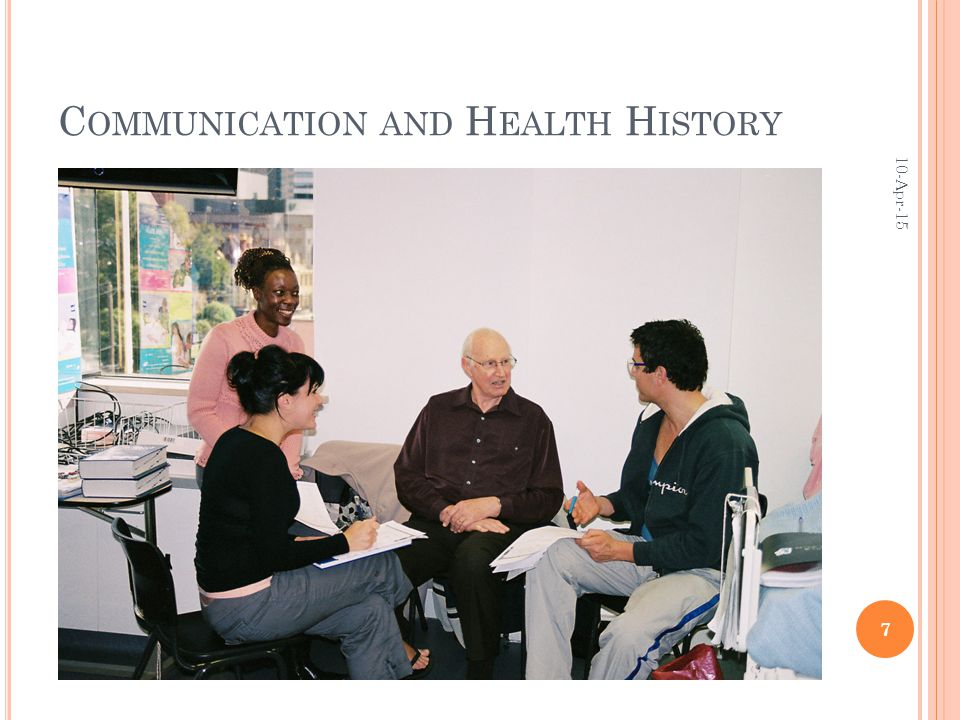 C OMMUNICATION AND H EALTH H ISTORY 10-Apr-15 7