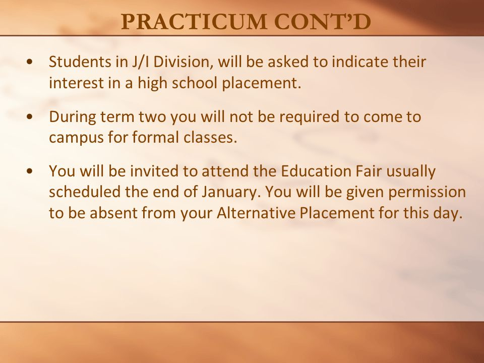 Students in J/I Division, will be asked to indicate their interest in a high school placement.