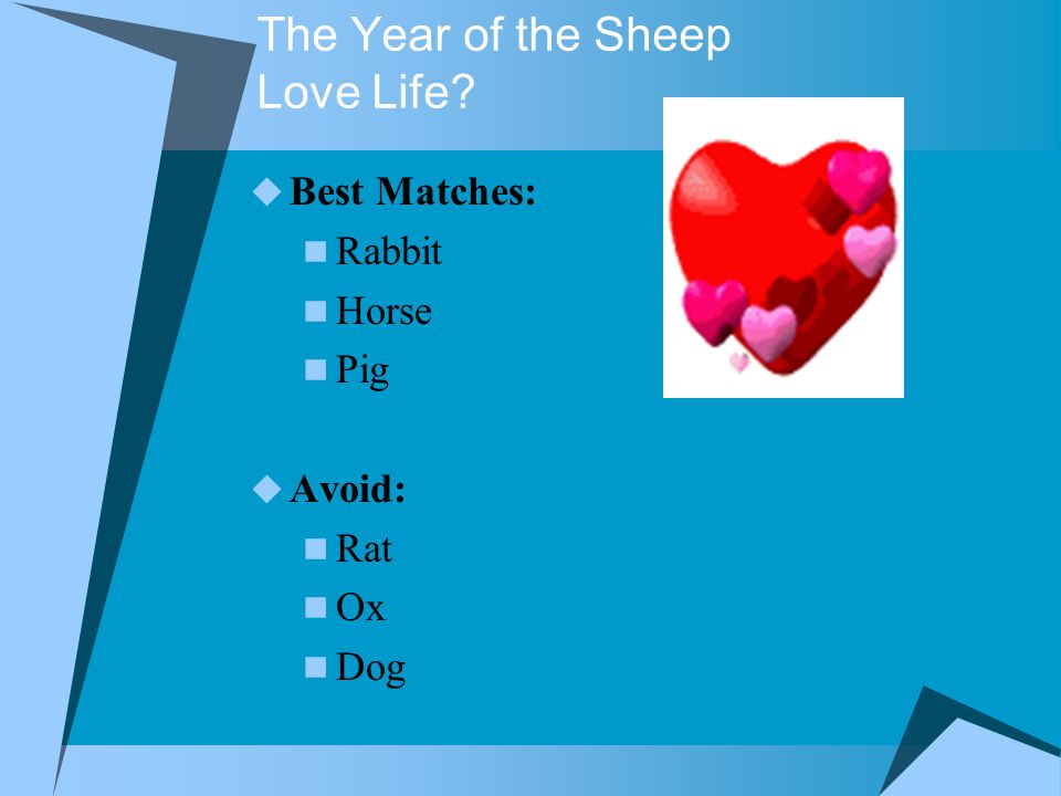 The Year of the Sheep Love Life  Best Matches: Rabbit Horse Pig  Avoid: Rat Ox Dog