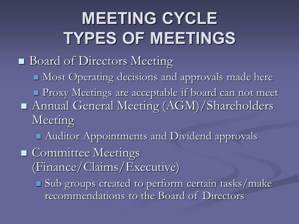 MEETING CYCLE TYPES OF MEETINGS Board of Directors Meeting Board of Directors Meeting Most Operating decisions and approvals made here Most Operating decisions and approvals made here Proxy Meetings are acceptable if board can not meet Proxy Meetings are acceptable if board can not meet Annual General Meeting (AGM)/Shareholders Meeting Annual General Meeting (AGM)/Shareholders Meeting Auditor Appointments and Dividend approvals Auditor Appointments and Dividend approvals Committee Meetings (Finance/Claims/Executive) Committee Meetings (Finance/Claims/Executive) Sub groups created to perform certain tasks/make recommendations to the Board of Directors Sub groups created to perform certain tasks/make recommendations to the Board of Directors