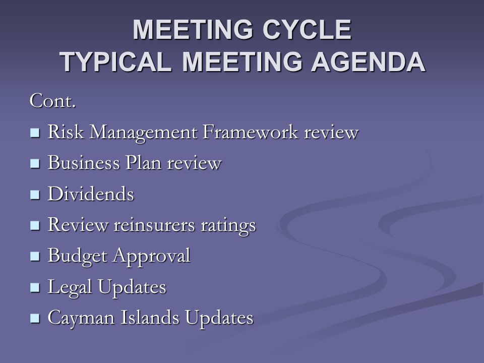MEETING CYCLE TYPICAL MEETING AGENDA Cont.