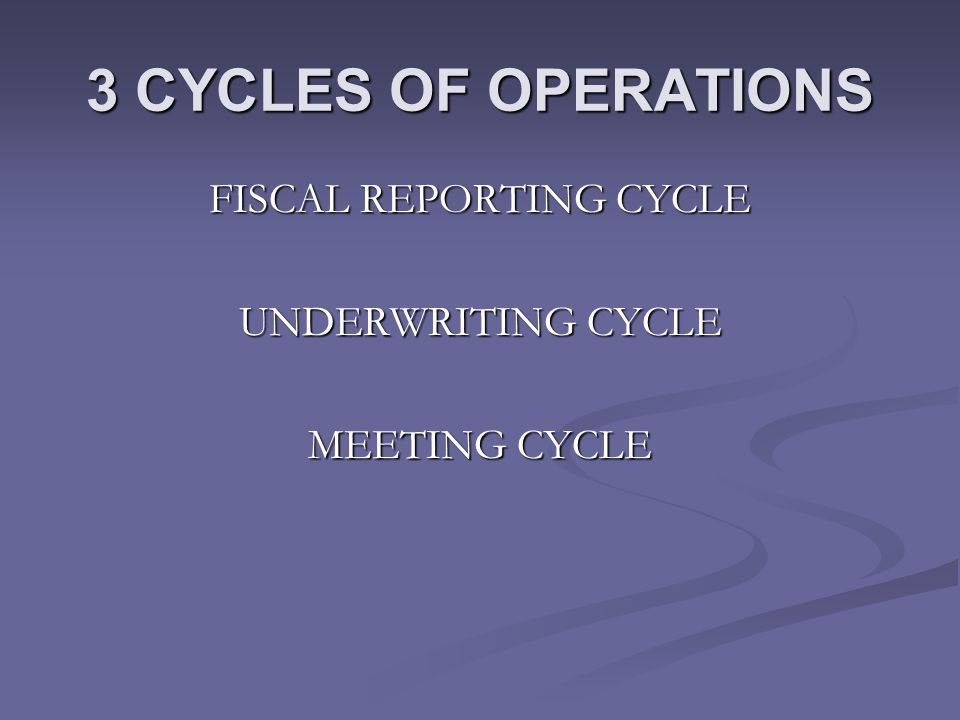 3 CYCLES OF OPERATIONS FISCAL REPORTING CYCLE UNDERWRITING CYCLE MEETING CYCLE