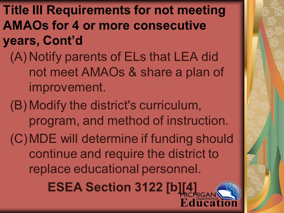Title III Requirements for not meeting AMAOs for 4 or more consecutive years, Cont'd (A)Notify parents of ELs that LEA did not meet AMAOs & share a plan of improvement.