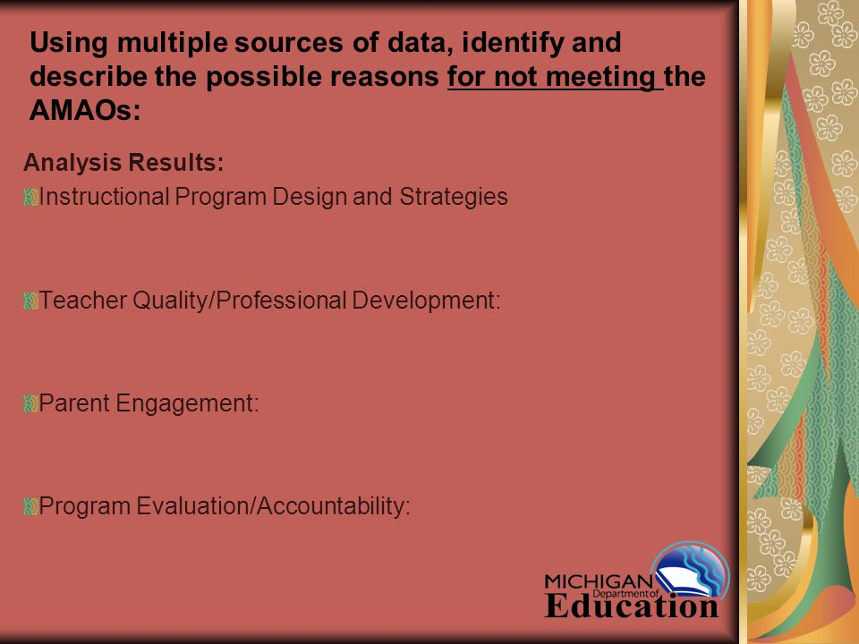 Using multiple sources of data, identify and describe the possible reasons for not meeting the AMAOs: Analysis Results: Instructional Program Design and Strategies Teacher Quality/Professional Development: Parent Engagement: Program Evaluation/Accountability: