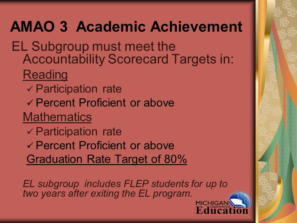 AMAO 3 Academic Achievement EL Subgroup must meet the Accountability Scorecard Targets in: Reading Participation rate Percent Proficient or above Mathematics Participation rate Percent Proficient or above Graduation Rate Target of 80% EL subgroup includes FLEP students for up to two years after exiting the EL program.