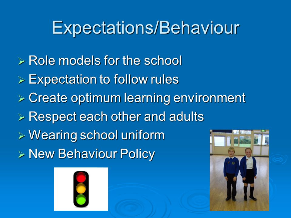 Expectations/Behaviour  Role models for the school  Expectation to follow rules  Create optimum learning environment  Respect each other and adults  Wearing school uniform  New Behaviour Policy