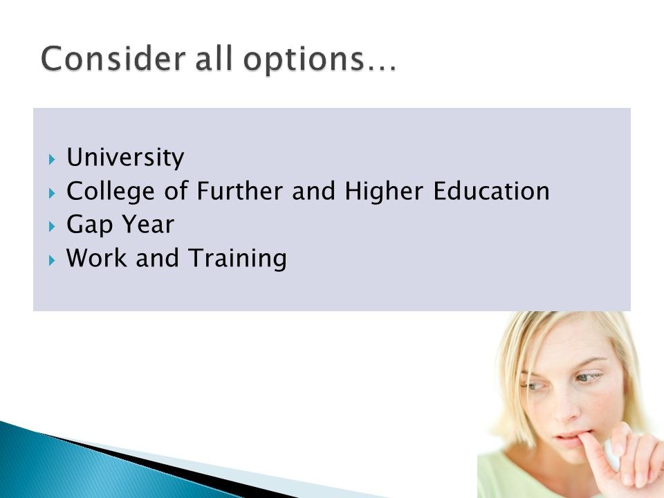  University  College of Further and Higher Education  Gap Year  Work and Training
