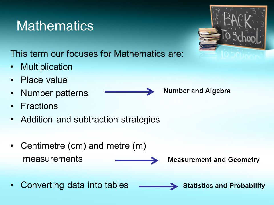 Mathematics This term our focuses for Mathematics are: Multiplication Place value Number patterns Fractions Addition and subtraction strategies Centimetre (cm) and metre (m) measurements Converting data into tables Number and Algebra Measurement and Geometry Statistics and Probability