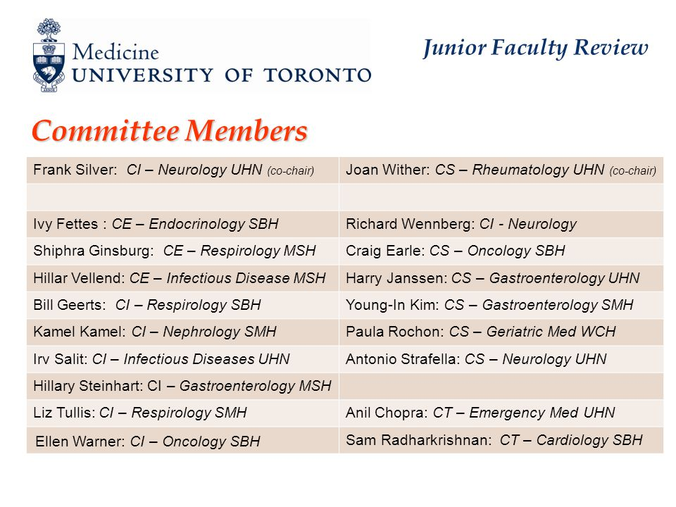 Junior Faculty Review Committee Members Frank Silver: CI – Neurology UHN (co-chair) Joan Wither: CS – Rheumatology UHN (co-chair) Ivy Fettes : CE – Endocrinology SBHRichard Wennberg: CI - Neurology Shiphra Ginsburg: CE – Respirology MSHCraig Earle: CS – Oncology SBH Hillar Vellend: CE – Infectious Disease MSHHarry Janssen: CS – Gastroenterology UHN Bill Geerts: CI – Respirology SBHYoung-In Kim: CS – Gastroenterology SMH Kamel Kamel: CI – Nephrology SMHPaula Rochon: CS – Geriatric Med WCH Irv Salit: CI – Infectious Diseases UHNAntonio Strafella: CS – Neurology UHN Hillary Steinhart: CI – Gastroenterology MSH Liz Tullis: CI – Respirology SMHAnil Chopra: CT – Emergency Med UHN Ellen Warner: CI – Oncology SBH Sam Radharkrishnan: CT – Cardiology SBH