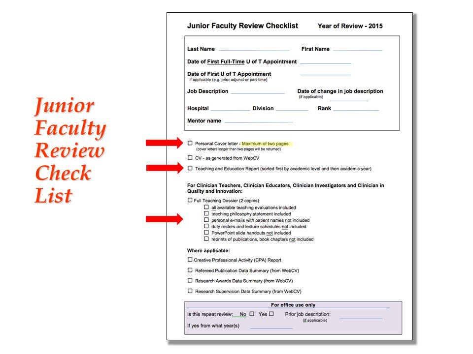 Junior Faculty Review Check List
